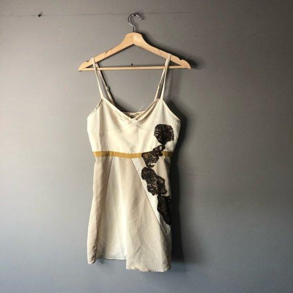 Silence + noise cream dress tan brown medium
